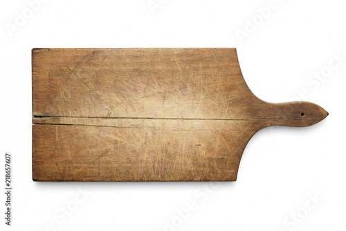 Foto  Old wooden cutting kitchen board on white background, included clipping path