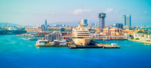 Cruise Ship In Port Of Barcelona, Catalonia, Spain