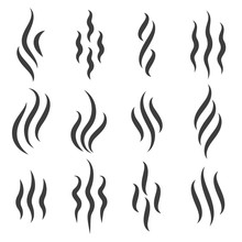 Smell Icons. Cooking Steam Or Warm Aroma Smell Mark, Steaming Vapour Odour Symbols