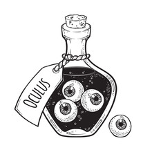 Eyeballs In Glass Bottle Isolated. Sticker, Patch, Print Or Blackwork Tattoo Design Hand Drawn Halloween Art Vector Illustration.