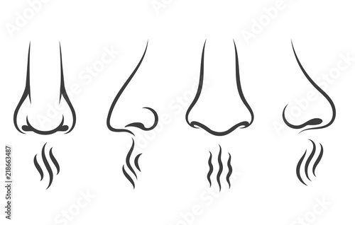 Obraz Nose smell icons. Human smelling and breathe nose senses isolated on white background - fototapety do salonu