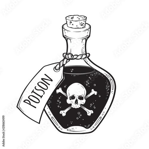 Fototapeta Poison in bottle line art and dot work hand drawn vector illustration