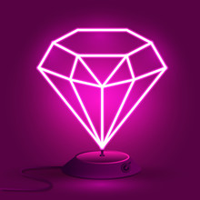 Pink Neon Diamond On The Stand...