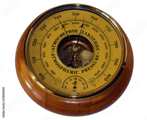 Barometer aneroid isolated on white background Canvas Print