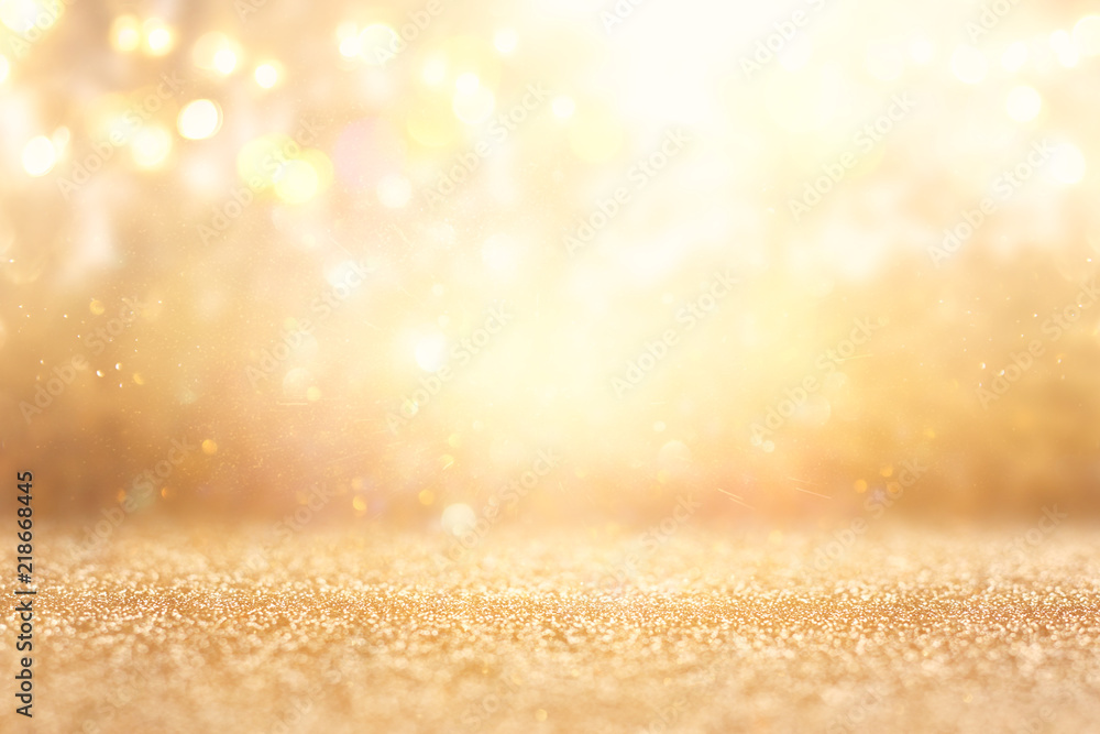 Fototapety, obrazy: glitter vintage lights background. silver and gold. de-focused.