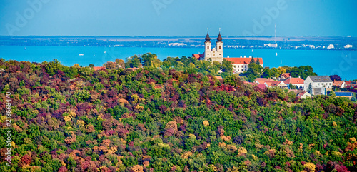 Fotografie, Obraz Aerial view of Tihany at lake Balaton