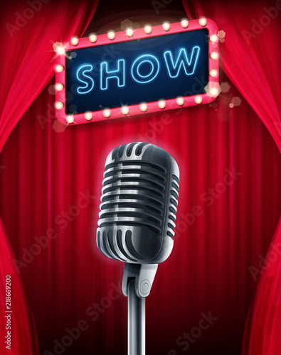 Fotografía show banner with microphone
