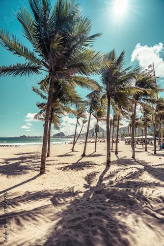 Copacabana Beach with palm shadows and sunshine, Rio de Janeiro, Brazil