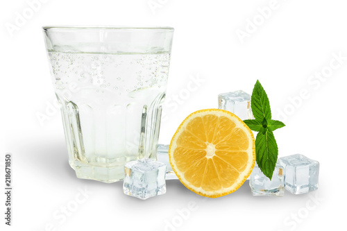 Poster Eclaboussures d eau glass of soda next to ice, mint and orange, ingredients for lemonade