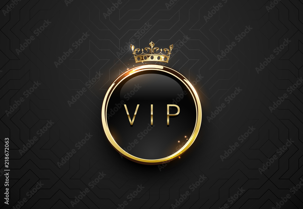 Fototapeta Vip black label with round golden ring frame sparks and crown on black geometric background. Dark glossy premium template. Vector luxury illustration.