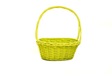 Empty Green Yellow Basket Isolated On A White Background