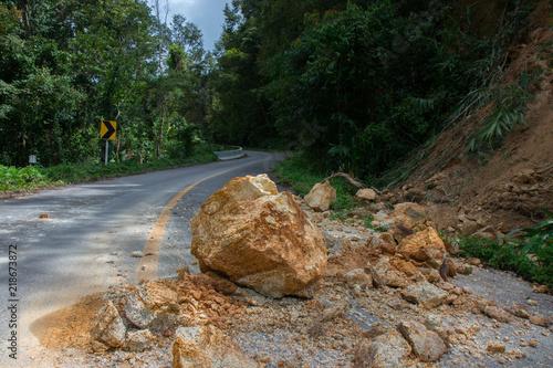 Fotografie, Obraz  Thailand, Chiangrai - Chiangmai road. Rockfall after the flood
