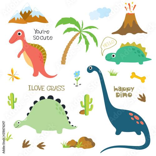 Fototapeta premium Dinosaur footprint, Volcano, Palm tree, Stones, Bone and Cactus