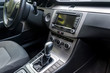 Car interior with automatic transmission lever, closeup
