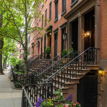 Row Of Old Brownstone Building...