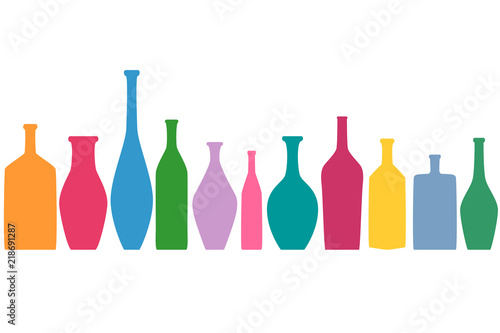 Bright colored bottles in a row, different type of bottles collection, horizontal flat decoration