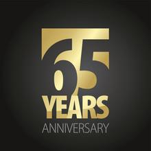 65 Years Anniversary Gold Blac...