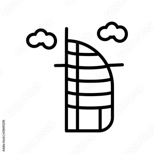 Photo  burj al arab icon on white background