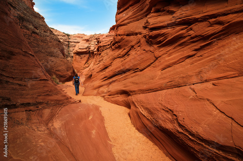 Keuken foto achterwand Rood traf. Scenic colorful canyon landscape with beautiful clouds in the sky. Beauty of American southwest. Slot canyon in Page, Arizona