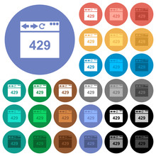 Browser 429 Too Many Requests Round Flat Multi Colored Icons