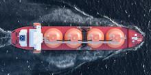 Gas Tanker Sailing In Ocean, T...