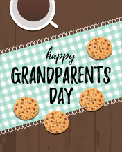 Happy Grandparents Day Greeting Card. Typography Lettering Poster With Wooden Table Background With Cookies Baking, Checkered Napkin And Coffee Mug On It. Holiday Postcard For Your Grandmother. Vector
