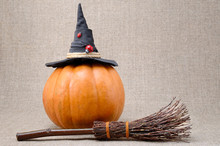 Broom And Hat Of  Witch On A P...