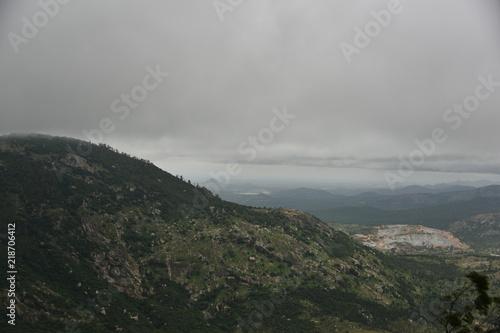 Spoed Foto op Canvas Donkergrijs Nandi hills landscape view, Karnataka, India
