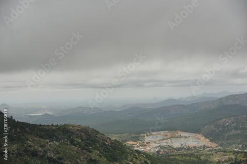 Poster Donkergrijs Nandi hills landscape view, Karnataka, India