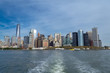 NYC financial district from a ferry