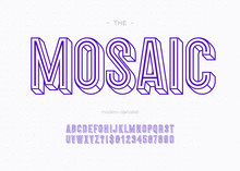 Mosaic 3d Bold Font Sans Serif Typography For Decoration, Book, Promotion, Poster, T Shirt, Sale Banner, Printing On Fabric. Cool Modern Alphabet. Trendy Typeface. Vector 10 Eps