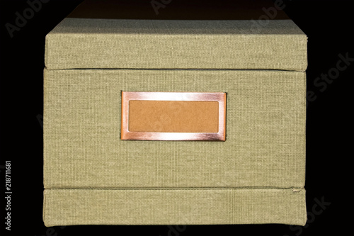 Photo Retro Light khaki file-storage box covered with tweed fabric with blank label in