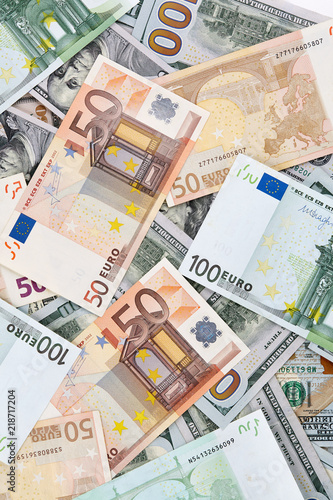 A Lot Of Euro And American Dollars Banknotes Background