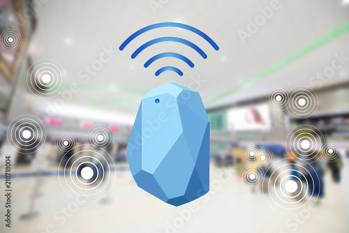 Beacon device home and office radar. Use for all situations. with network connect signal graphic and blur background at the airport