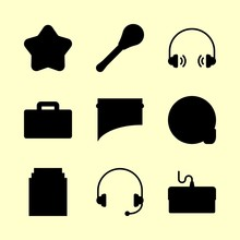 Music Icons Set. Pleasant, Keyboard, Spring And Mic Graphic Works