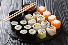Sushi Rolls Set With Sauces Se...
