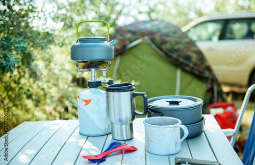Camping cookware set outdoors