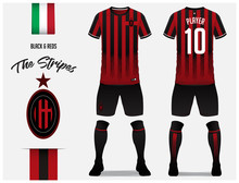 Soccer Jersey Or Football Kit Template For Football Club. Red And Black Stripe Football Shirt With Sock And Pants Mock Up. Front And Back View Soccer Uniform. Football Logo And Flag Label. Vector.