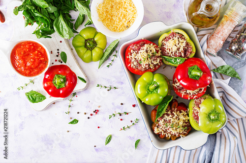 Ingredients for preparation of stuffed pepper with minced meat and buckwheat porridge. Tasty food. Flat lay. Top view
