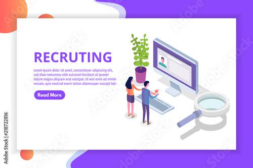 Fotografía  Recruitment, Job search isometric concept