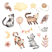 Watercolor Illustrations Of Cute Cats, Mouse, Birds, Stars, Clouds