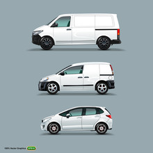 Mocup Set Of White Car, Cargo Van, And Delivery Van.