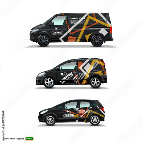 Fototapeta Mocup set with advertisement on Black Car, Cargo Van, and delivery Van. obraz