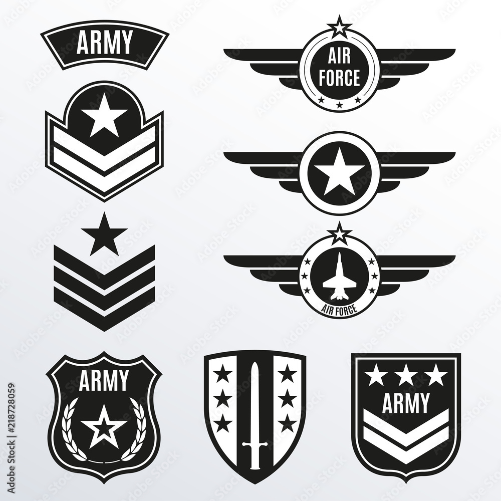 Fototapeta Army and military badge set. Shields with army emblem. Vector illustration.