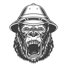 Angry Gorilla In Monochrome St...