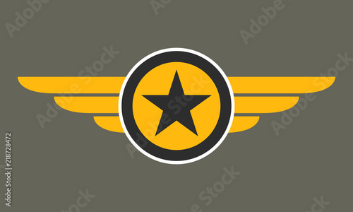 Obraz Wings with star icon. Winged logo template.  Air force badge, army, military and aviation emblem. Vector illustration. - fototapety do salonu