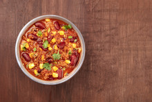 Chili Con Carne, Traditional Mexican Dish, Overhead Photo With Copyspace