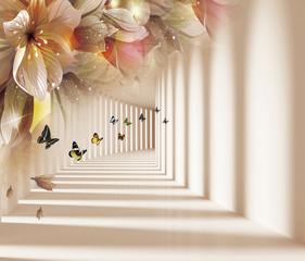 Fototapeta3d background, corridor, shadow and light, butterflies, flowers