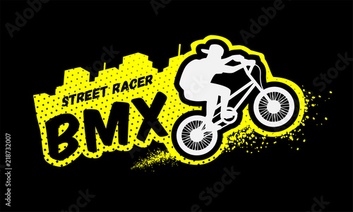 Photo Bmx racer, emblem in grunge style.