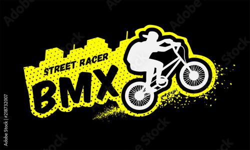 Bmx racer, emblem in grunge style. Canvas Print